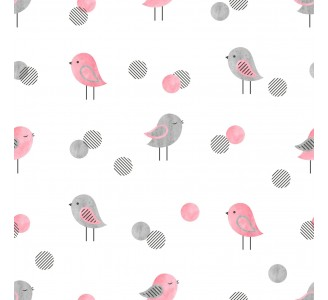 Gray and Pink Birds Removable Wallpaper pattern