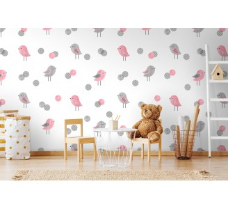 Gray and Pink Birds Removable Wallpaper full view