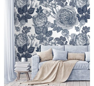 Gray Peony Removable Wallpaper