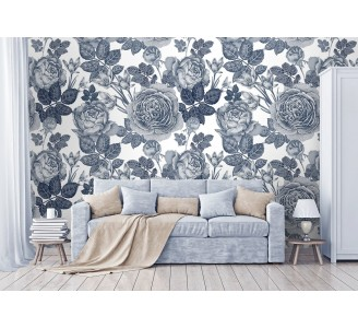 Gray Peony Removable Wallpaper full view