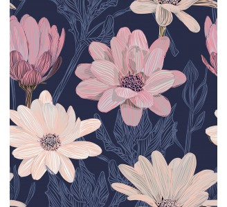 Purple Daisies Removable Wallpaper pattern