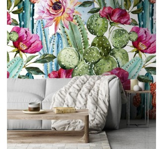 Colorful Cacti Removable Wallpaper