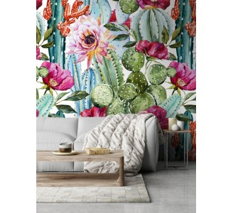 Colorful Cacti Removable Wallpaper full view
