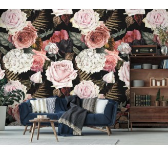 Majestic Bouquet Removable Wallpaper full view