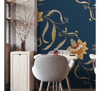 Vintage Chinese Flowers Removable Wallpaper