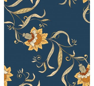 Vintage Chinese Flowers Removable Wallpaper pattern