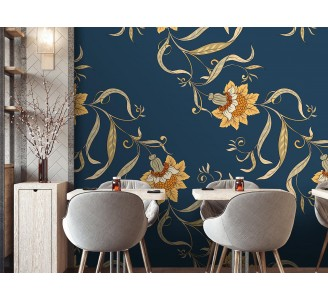 Vintage Chinese Flowers Removable Wallpaper full view