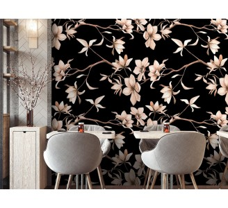 Magnolia Flowers Removable Wallpaper full view