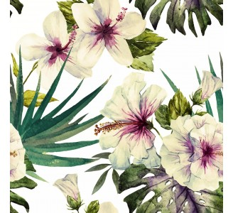 White Hibiscus Removable Wallpaper pattern