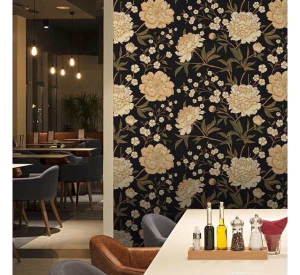 Gold Peony Removable Wallpaper