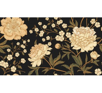 Gold Peony Removable Wallpaper pattern