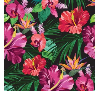 Exotic Flowers Removable Wallpaper pattern