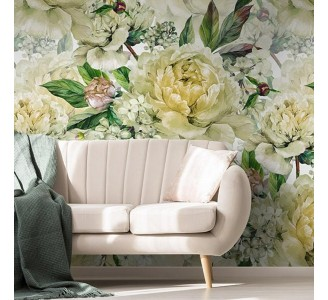 White Peony Removable Wallpaper