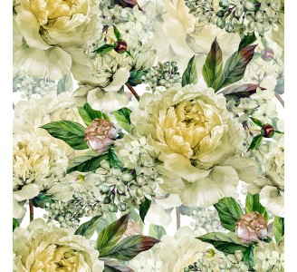 White Peony Removable Wallpaper pattern