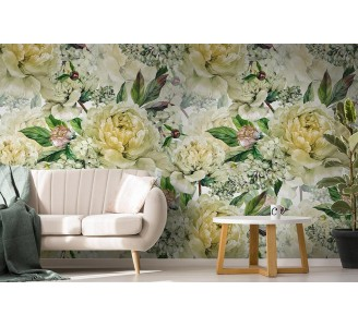 White Peony Removable Wallpaper full view