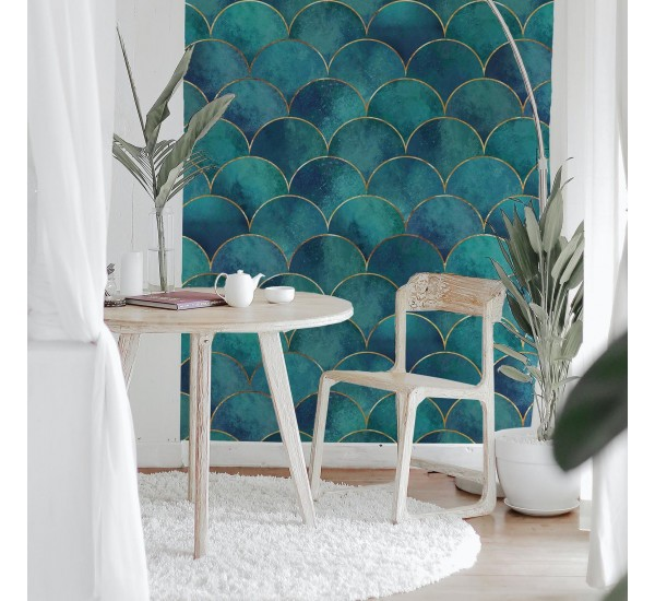 Turquoise Mermaid Fish Removable Wallpaper