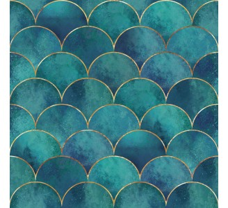 Turquoise Mermaid Fish Removable Wallpaper pattern