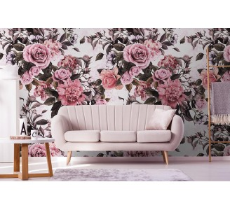 Vivid Bouquet Removable Wallpaper living room