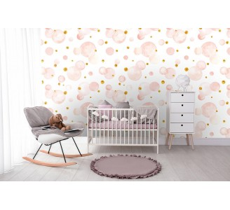 Pink Dots Removable Wallpaper full view