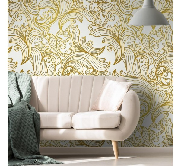 Gold Retro Lines Removable Wallpaper