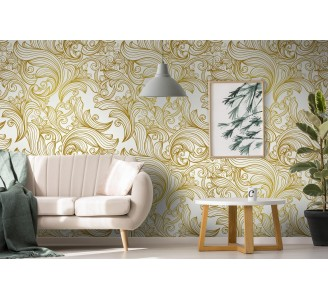 Gold Retro Lines Removable Wallpaper full view