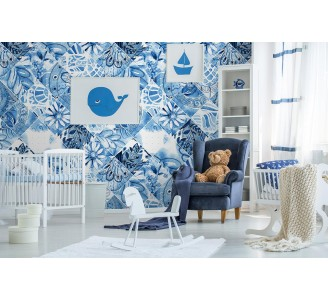 Blue Folk Patchwork Removable Wallpaper full view