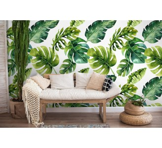 Palm Leaves Removable Wallpaper full view