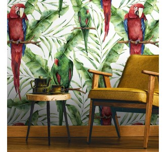 Tropical Parrots Removable Wallpaper