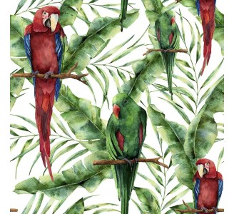 Tropical Parrots Removable Wallpaper pattern