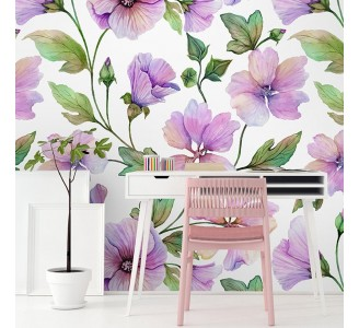Lavatera Flowers Removable Wallpaper