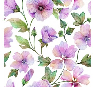 Lavatera Flowers Removable Wallpaper pattern