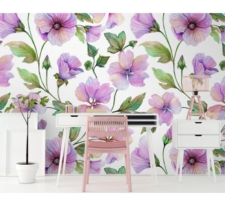 Lavatera Flowers Removable Wallpaper full view