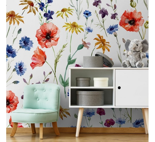 Poppies and Daisies Removable Wallpaper