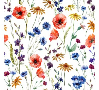 Poppies and Daisies Removable Wallpaper pattern