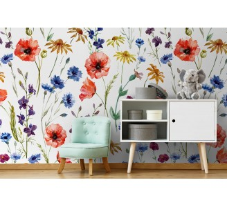 Poppies and Daisies Removable Wallpaper full view