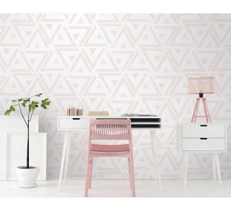 Soft Pink Triangles Removable Wallpaper full view