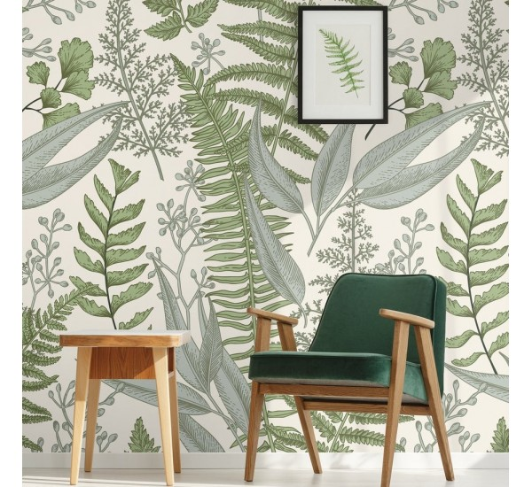Vintege Ferns Removable Wallpaper