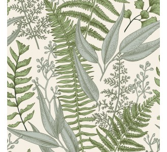 Vintege Ferns Removable Wallpaper pattern