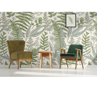 Vintege Ferns Removable Wallpaper full view
