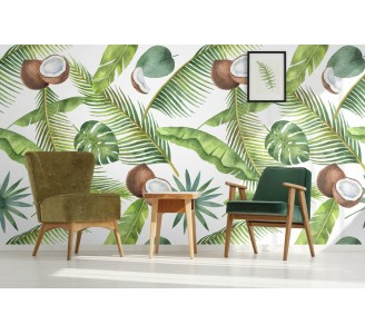 Tropical Coconuts Removable Wallpaper full view