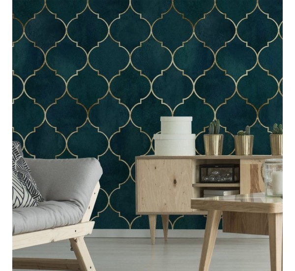 Green Moroccan Pattern Removable Wallpaper