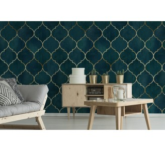 Green Moroccan Pattern Removable Wallpaper full view