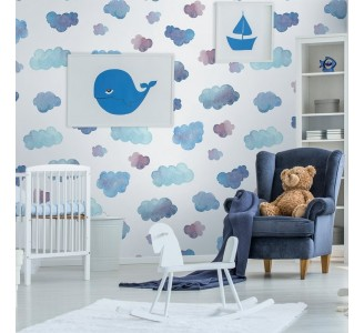 Soft Blue Clouds Removable Wallpaper