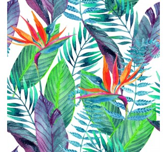 Colorful Tropical Leaves Removable Wallpaper pattern