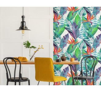 Colorful Tropical Leaves Removable Wallpaper full view