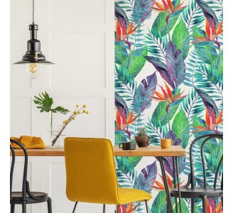 Colorful Tropical Leaves Removable Wallpaper