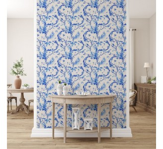 Blue Vintage Flowers Removable Wallpaper