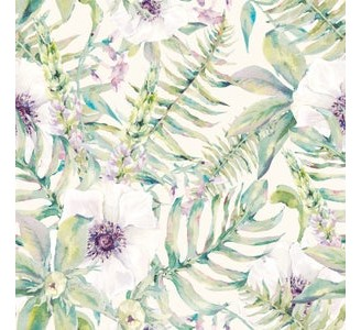 Watercolor Ferns and Flowers Removable Wallpaper pattern