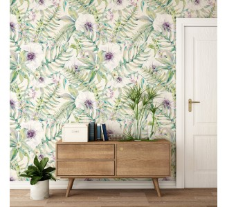 Watercolor Ferns and Flowers Removable Wallpaper