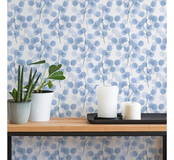 Blue Round Leaves Removable Wallpaper